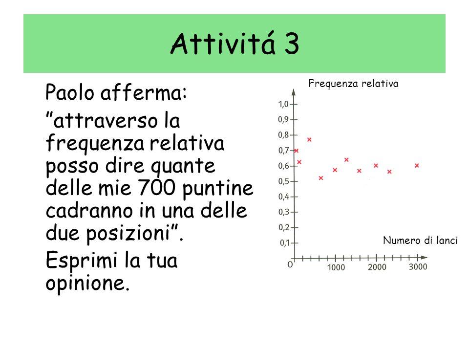 Attivitá 3 Paolo afferma: attraverso la frequenza relativa posso dire quante delle mie 700 puntine cadranno in una delle due posizioni. Esprimi la tua
