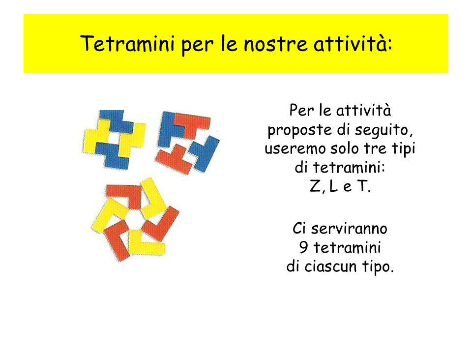 Tetramini per le nostre attività: Per le attività proposte di seguito, useremo solo tre tipi di tetramini: Z, L e T. Ci serviranno 9 tetramini di cias