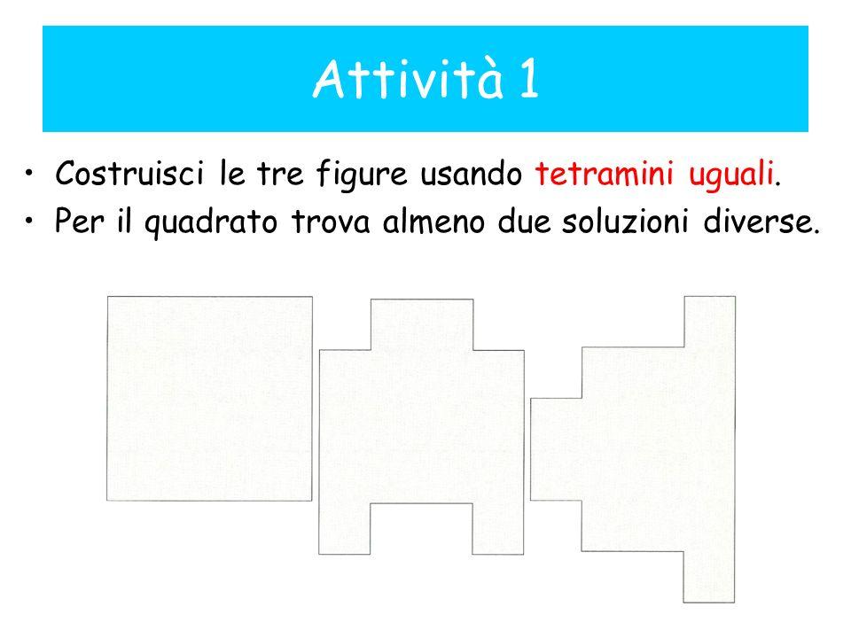 Attività 1 Costruisci le tre figure usando tetramini uguali. Per il quadrato trova almeno due soluzioni diverse.