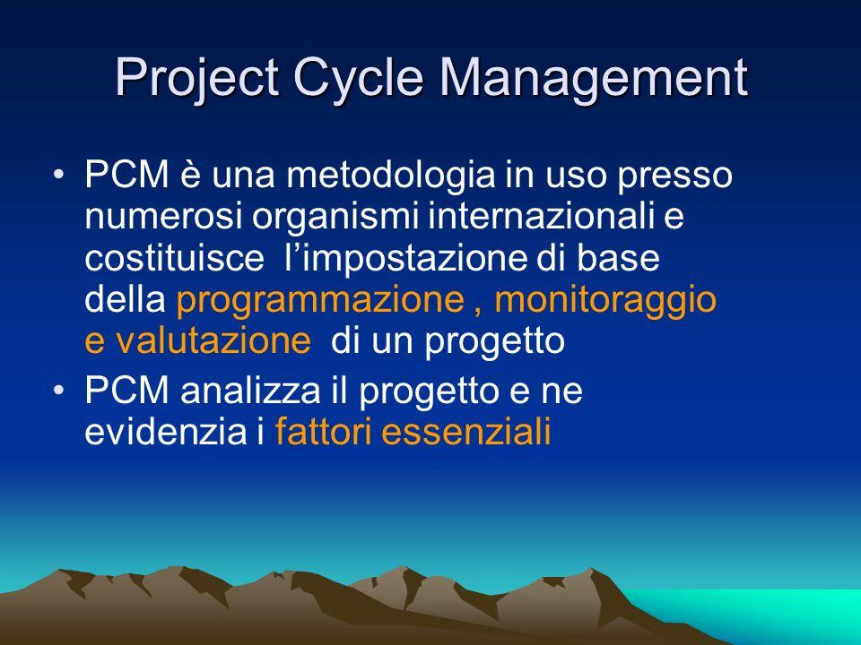 Project Cycle Management PCM è una metodologia in uso presso numerosi organismi internazionali e costituisce limpostazione di base della programmazion