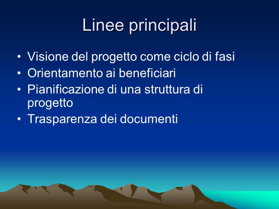 Linee principali Visione del progetto come ciclo di fasi Orientamento ai beneficiari Pianificazione di una struttura di progetto Trasparenza dei docum