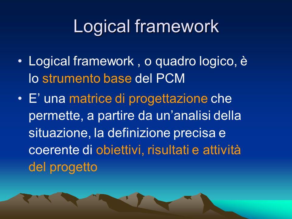 Logical framework Logical framework, o quadro logico, è lo strumento base del PCM E una matrice di progettazione che permette, a partire da unanalisi