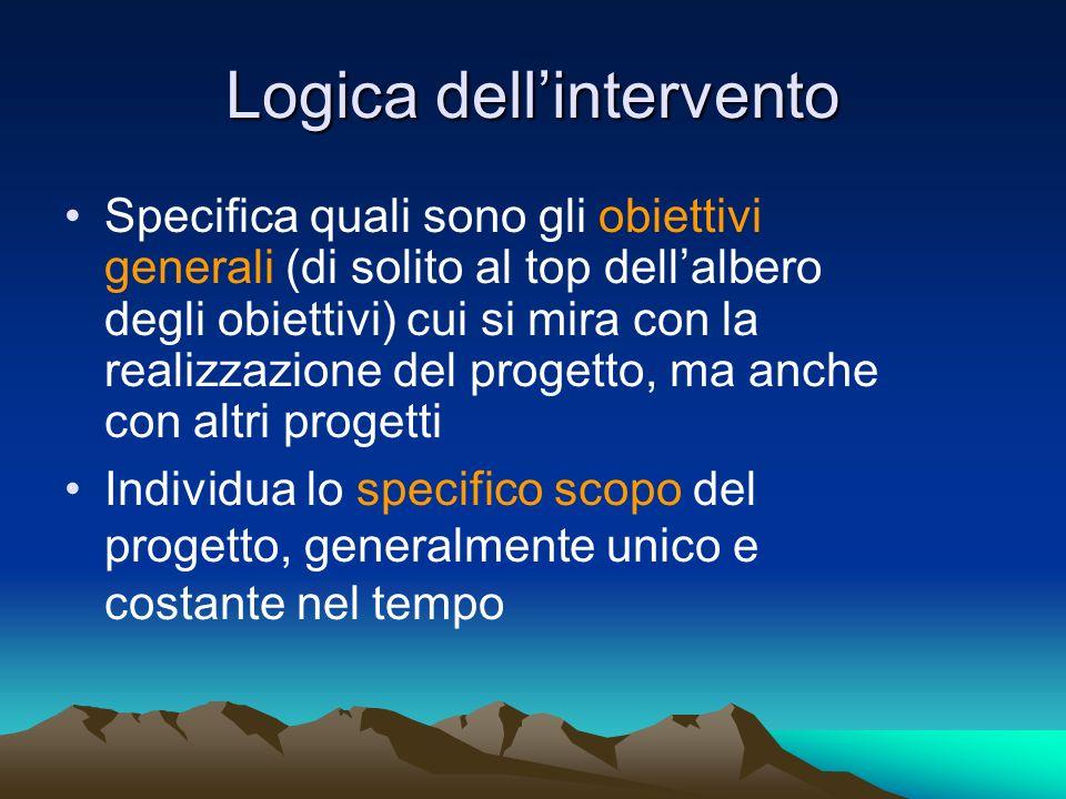 Logica dellintervento Specifica quali sono gli obiettivi generali (di solito al top dellalbero degli obiettivi) cui si mira con la realizzazione del p