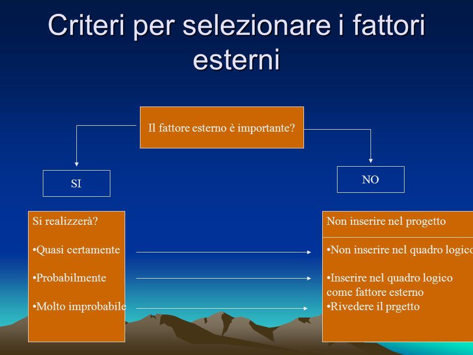 Criteri per selezionare i fattori esterni Il fattore esterno è importante? SI NO Si realizzerà? Quasi certamente Probabilmente Molto improbabile Non i