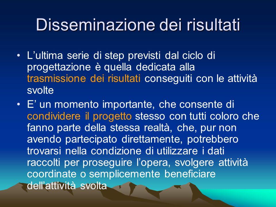 Disseminazione dei risultati Lultima serie di step previsti dal ciclo di progettazione è quella dedicata alla trasmissione dei risultati conseguiti co