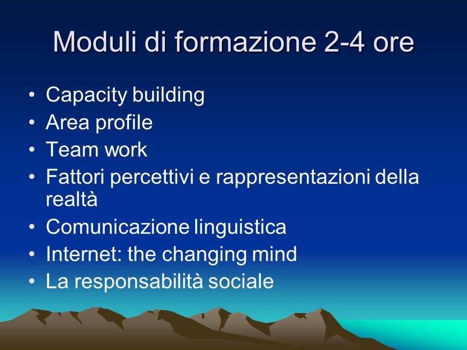 Moduli di formazione 2-4 ore Capacity building Area profile Team work Fattori percettivi e rappresentazioni della realtà Comunicazione linguistica Int
