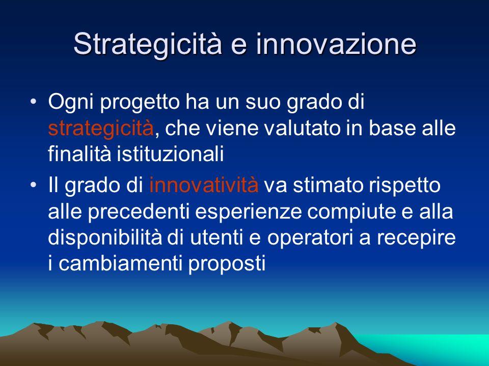Strategicità e innovazione Ogni progetto ha un suo grado di strategicità, che viene valutato in base alle finalità istituzionali Il grado di innovativ