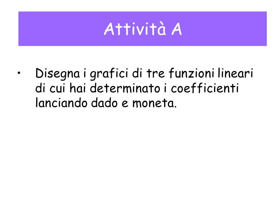 Attività A Disegna i grafici di tre funzioni lineari di cui hai determinato i coefficienti lanciando dado e moneta.