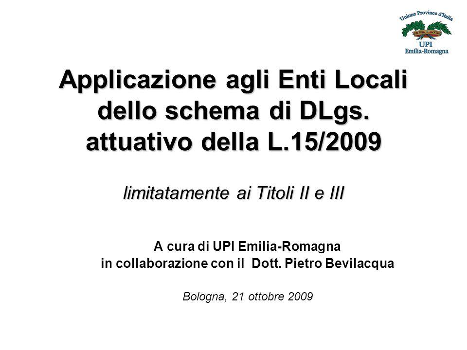 Applicazione agli Enti Locali dello schema di DLgs.