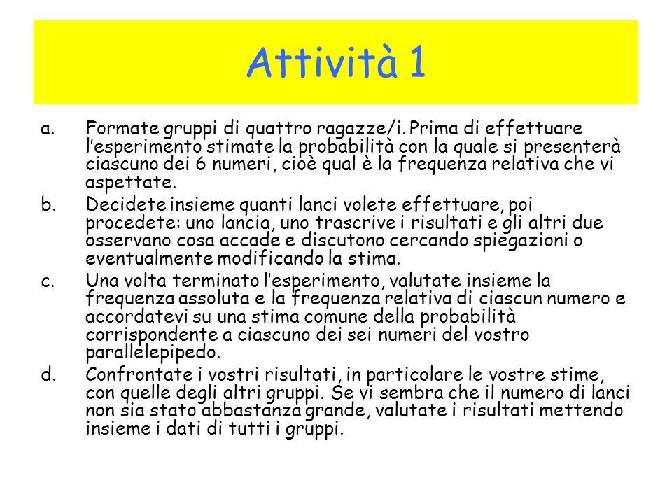 Attività 1 a.Formate gruppi di quattro ragazze/i.