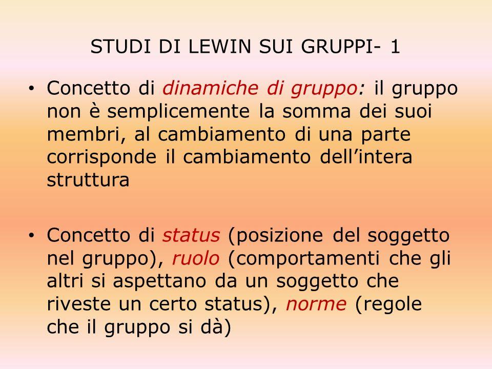 STUDI DI LEWIN SUI GRUPPI- 1 Concetto di dinamiche di gruppo: il gruppo non è semplicemente la somma dei suoi membri, al cambiamento di una parte corr