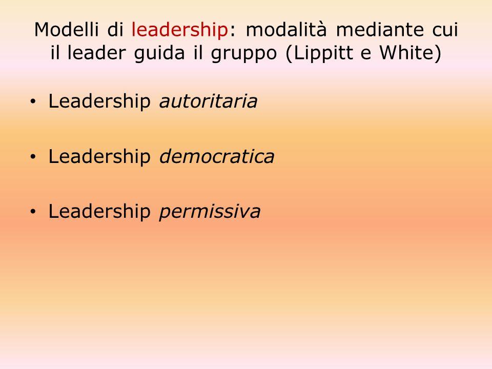 Modelli di leadership: modalità mediante cui il leader guida il gruppo (Lippitt e White) Leadership autoritaria Leadership democratica Leadership perm
