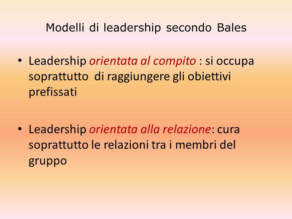 Modelli di leadership secondo Bales Leadership orientata al compito : si occupa soprattutto di raggiungere gli obiettivi prefissati Leadership orienta