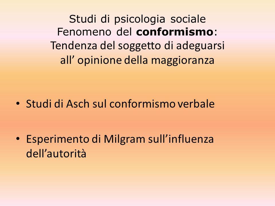 Studi di psicologia sociale Fenomeno del conformismo: Tendenza del soggetto di adeguarsi all opinione della maggioranza Studi di Asch sul conformismo