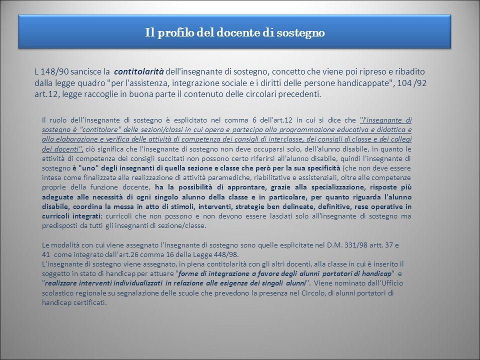 Il profilo del docente di sostegno 8 L 148/90 sancisce la contitolarità dell'insegnante di sostegno, concetto che viene poi ripreso e ribadito dalla l