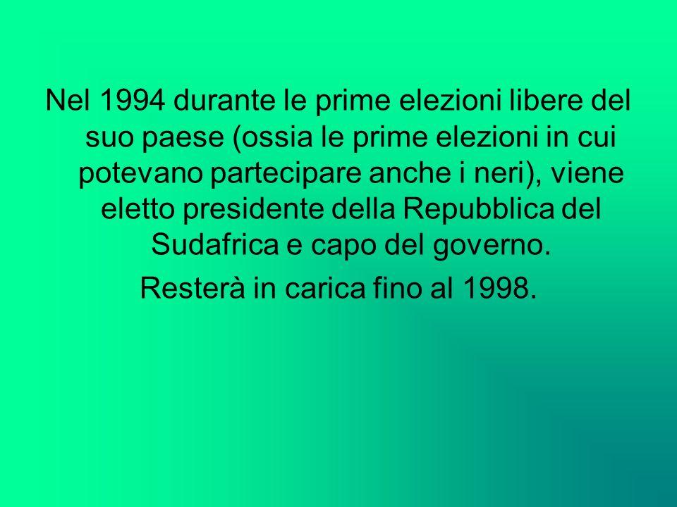 Nel 1994 durante le prime elezioni libere del suo paese (ossia le prime elezioni in cui potevano partecipare anche i neri), viene eletto presidente de