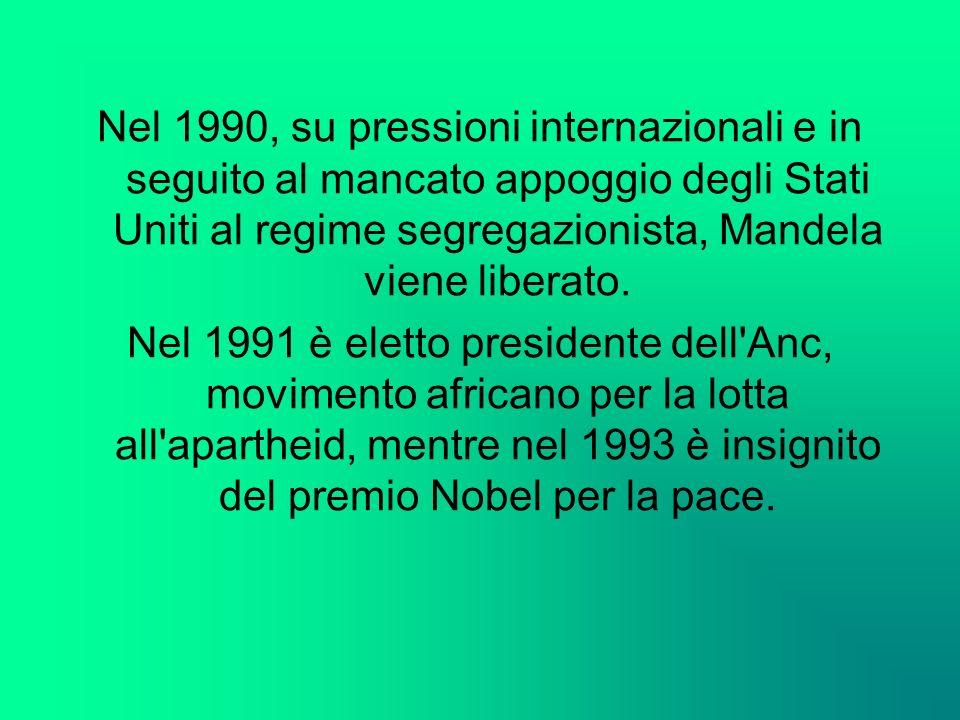 Nel 1990, su pressioni internazionali e in seguito al mancato appoggio degli Stati Uniti al regime segregazionista, Mandela viene liberato. Nel 1991 è