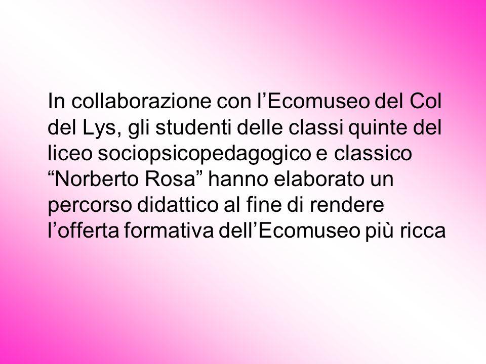 In collaborazione con lEcomuseo del Col del Lys, gli studenti delle classi quinte del liceo sociopsicopedagogico e classico Norberto Rosa hanno elabor