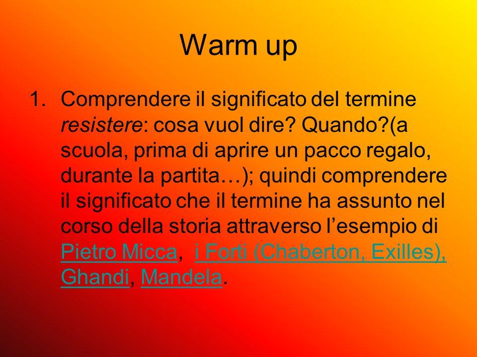 Warm up 1.Comprendere il significato del termine resistere: cosa vuol dire? Quando?(a scuola, prima di aprire un pacco regalo, durante la partita…); q