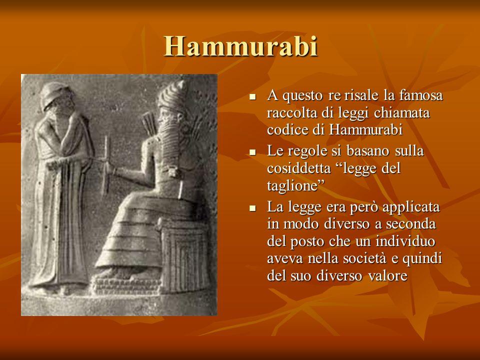 Hammurabi A questo re risale la famosa raccolta di leggi chiamata codice di Hammurabi A questo re risale la famosa raccolta di leggi chiamata codice d