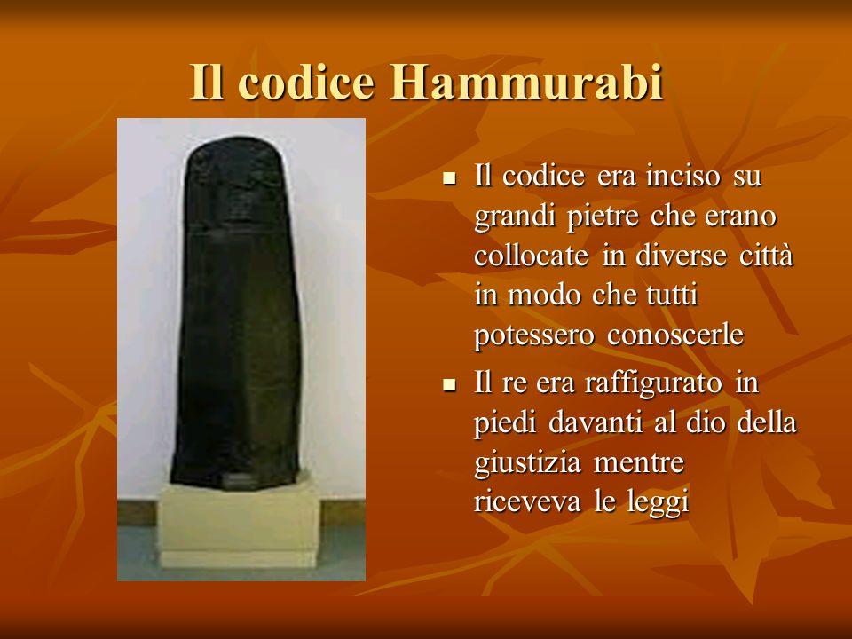 Il codice Hammurabi Il codice era inciso su grandi pietre che erano collocate in diverse città in modo che tutti potessero conoscerle Il codice era in