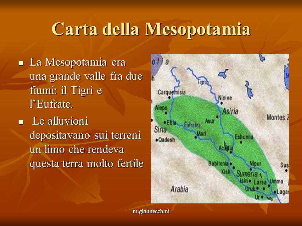 Carta della Mesopotamia La Mesopotamia era una grande valle fra due fiumi: il Tigri e lEufrate. La Mesopotamia era una grande valle fra due fiumi: il