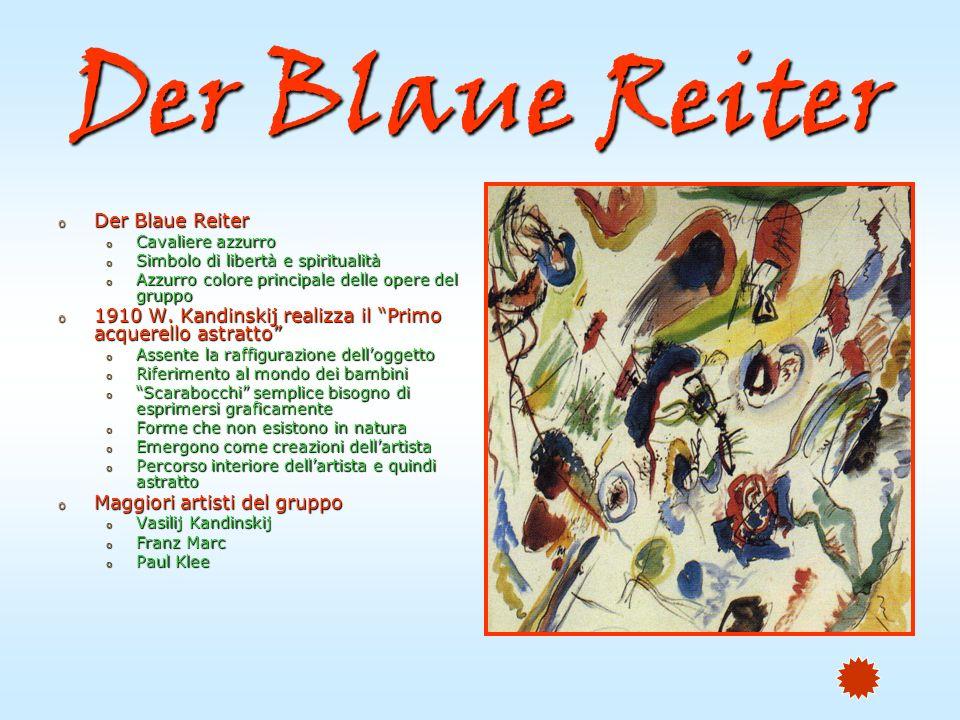 Der Blaue Reiter o Der Blaue Reiter o Cavaliere azzurro o Simbolo di libertà e spiritualità o Azzurro colore principale delle opere del gruppo o 1910 W.