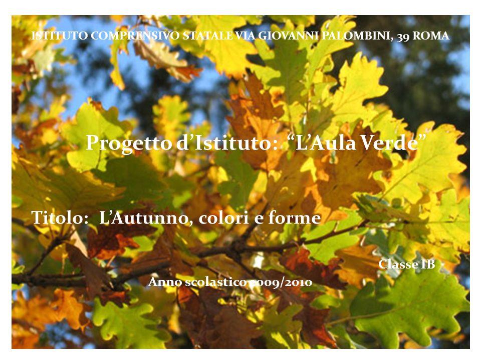 ISTITUTO COMPRENSIVO STATALE VIA GIOVANNI PALOMBINI, 39 ROMA Progetto dIstituto: LAula Verde Titolo: LAutunno, colori e forme Classe IB Anno scolastic
