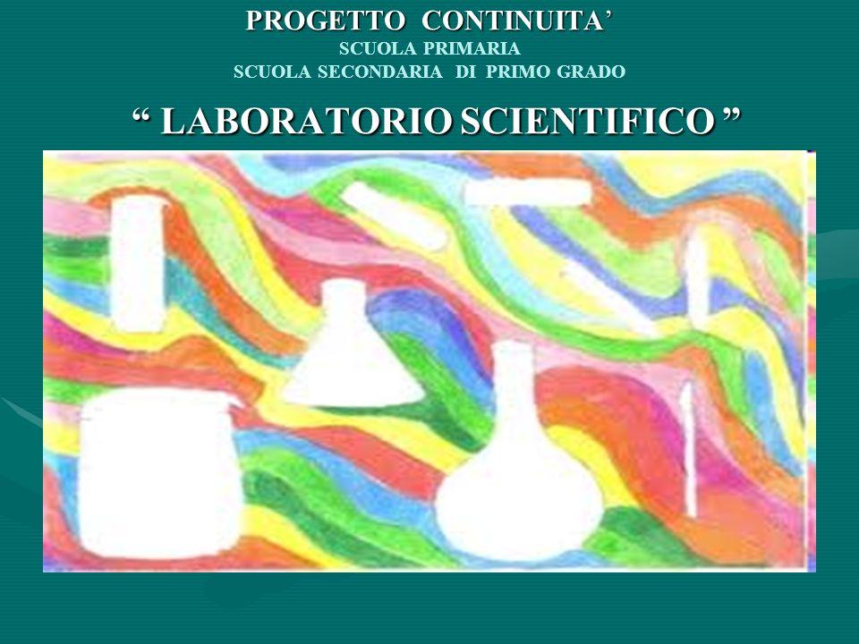 PROGETTO CONTINUITA LABORATORIO SCIENTIFICO PROGETTO CONTINUITA SCUOLA PRIMARIA SCUOLA SECONDARIA DI PRIMO GRADO LABORATORIO SCIENTIFICO