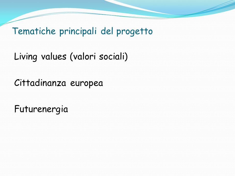 Tematiche principali del progetto Living values (valori sociali) Cittadinanza europea Futurenergia