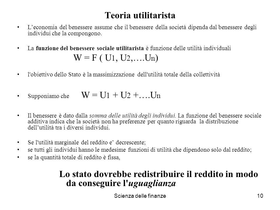 Scienza delle finanze10 Teoria utilitarista Leconomia del benessere assume che il benessere della società dipenda dal benessere degli individui che la