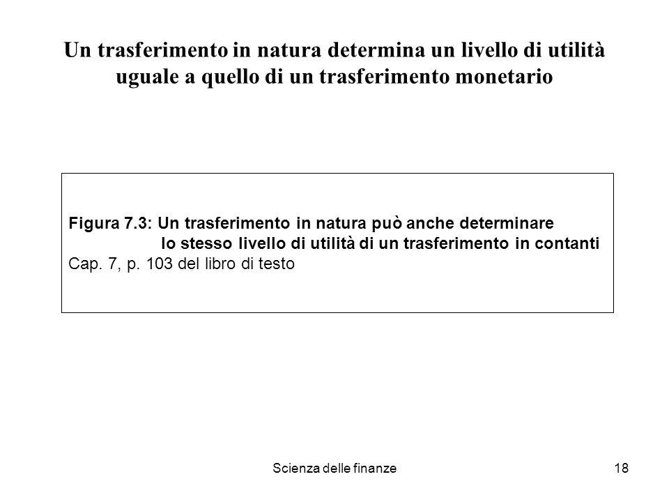 Scienza delle finanze18 Un trasferimento in natura determina un livello di utilità uguale a quello di un trasferimento monetario Figura 7.3: Un trasfe