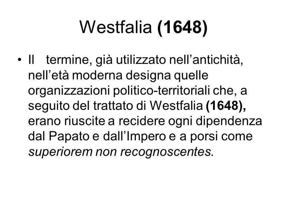 Westfalia (1648) Iltermine, già utilizzato nellantichità, nelletà moderna designa quelle organizzazioni politico-territoriali che, a seguito del tratt