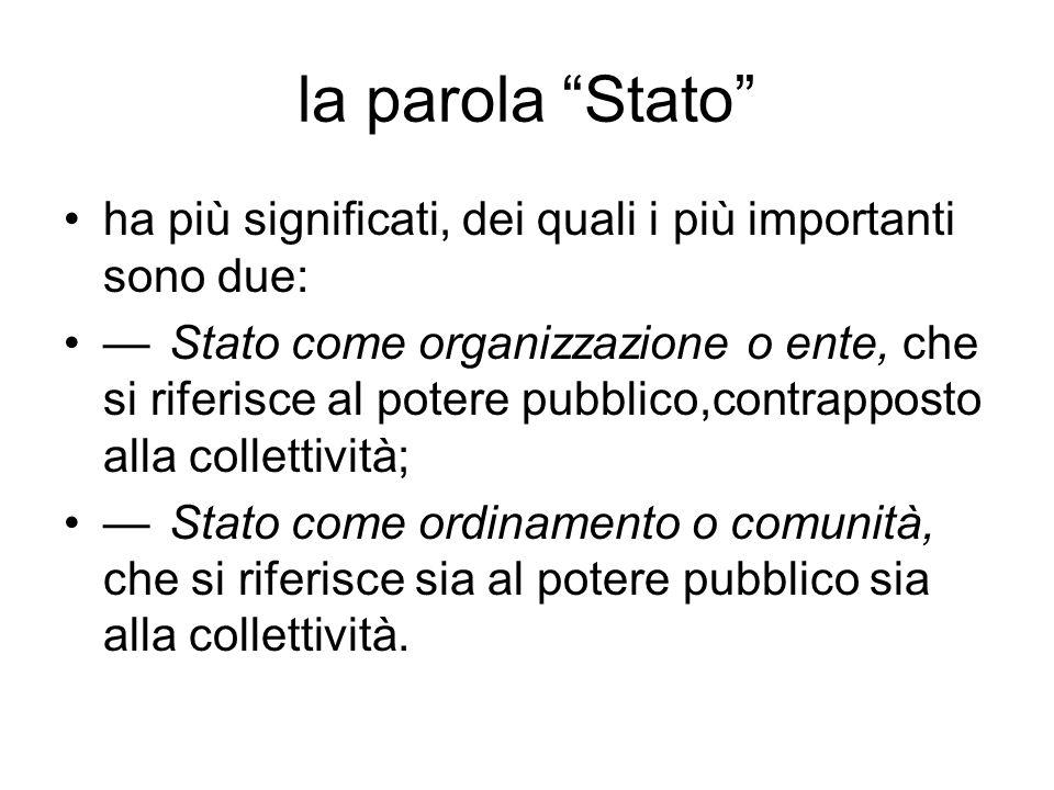 la parola Stato ha più significati, dei quali i più importanti sono due: Stato come organizzazione o ente, che si riferisce al potere pubblico,contrap