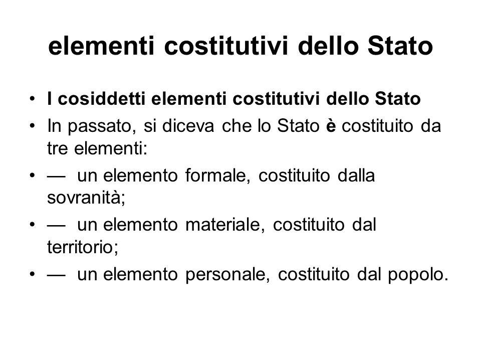 elementi costitutivi dello Stato I cosiddetti elementi costitutivi dello Stato In passato, si diceva che lo Stato è costituito da tre elementi: un ele