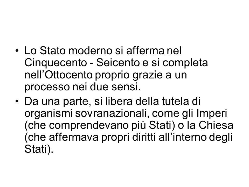 Lo Stato moderno si afferma nel Cinquecento - Seicento e si completa nellOttocento proprio grazie a un processo nei due sensi. Da una parte, si libera