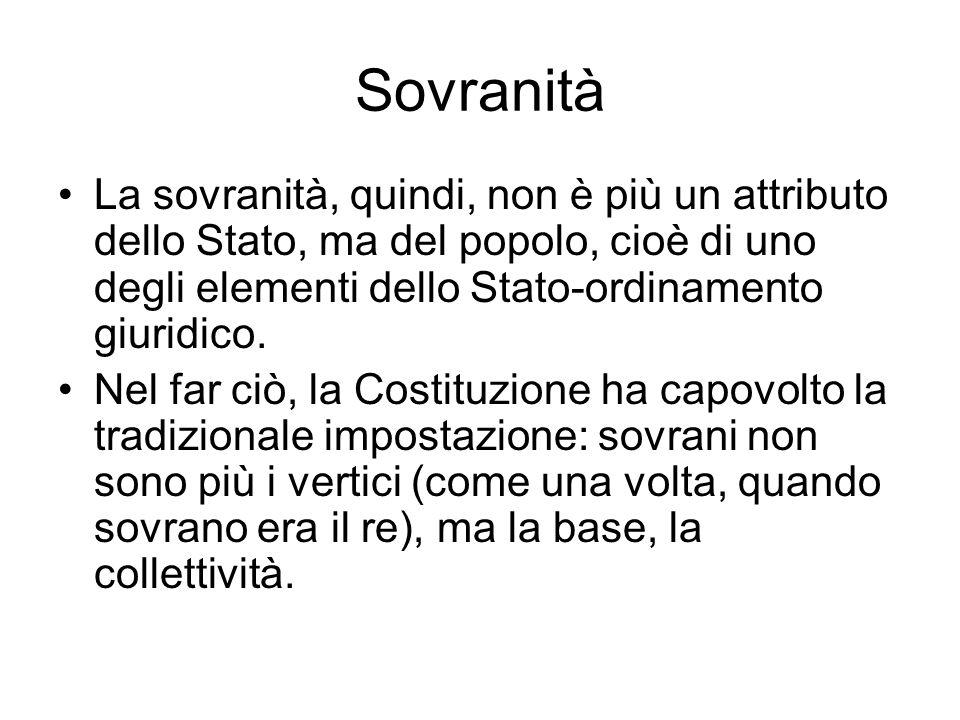 Sovranità La sovranità, quindi, non è più un attributo dello Stato, ma del popolo, cioè di uno degli elementi dello Stato-ordinamento giuridico. Nel f