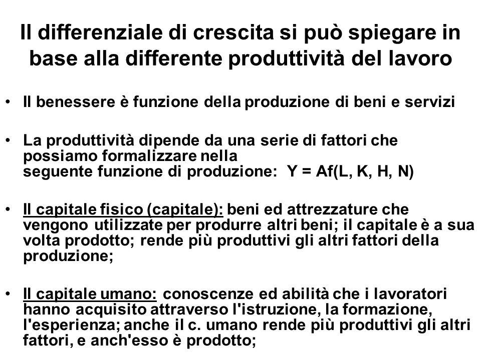 Il differenziale di crescita si può spiegare in base alla differente produttività del lavoro Il benessere è funzione della produzione di beni e serviz