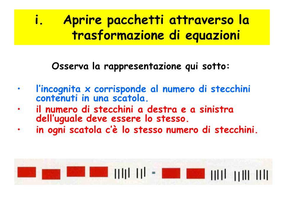 Osserva la rappresentazione qui sotto: lincognita x corrisponde al numero di stecchini contenuti in una scatola. il numero di stecchini a destra e a s