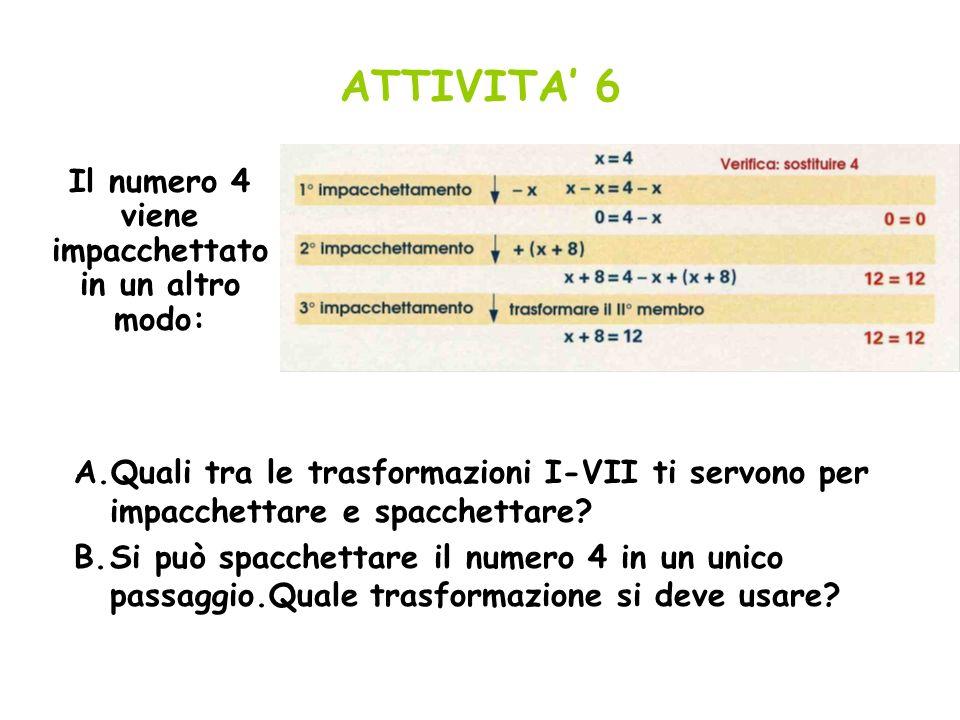 ATTIVITA 6 Il numero 4 viene impacchettato in un altro modo: A.Quali tra le trasformazioni I-VII ti servono per impacchettare e spacchettare? B.Si può
