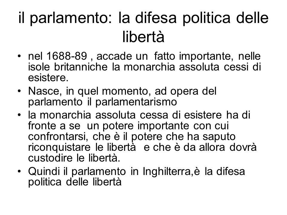 il parlamento: la difesa politica delle libertà nel 1688-89, accade un fatto importante, nelle isole britanniche la monarchia assoluta cessi di esistere.