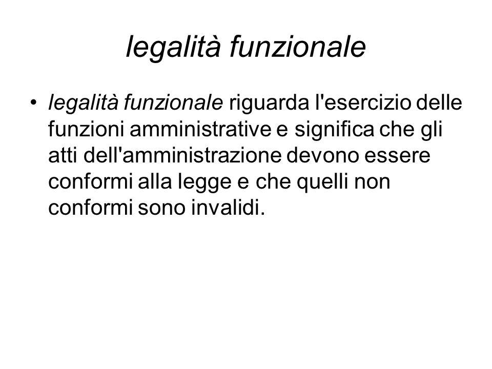 legalità funzionale legalità funzionale riguarda l'esercizio delle funzioni amministrative e significa che gli atti dell'amministrazione devono essere