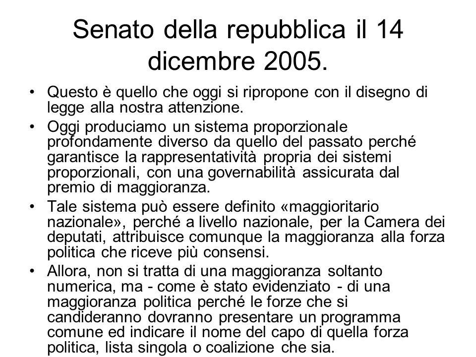 Senato della repubblica il 14 dicembre 2005. Questo è quello che oggi si ripropone con il disegno di legge alla nostra attenzione. Oggi produciamo un
