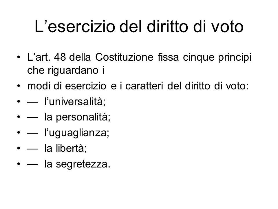 Lesercizio del diritto di voto Lart. 48 della Costituzione fissa cinque principi che riguardano i modi di esercizio e i caratteri del diritto di voto: