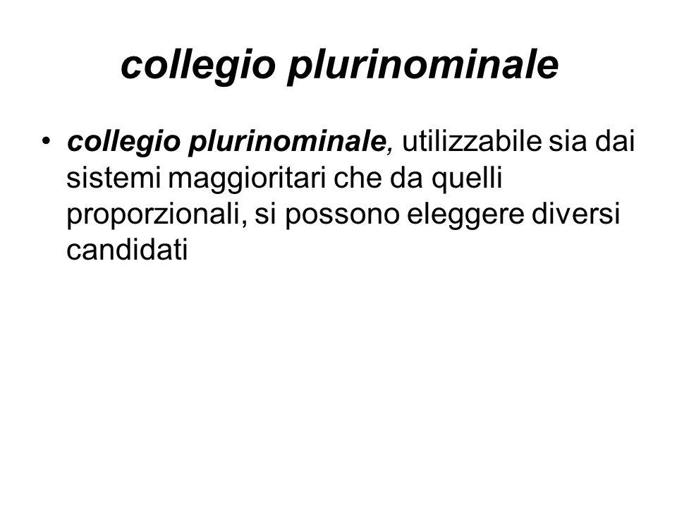 collegio plurinominale collegio plurinominale, utilizzabile sia dai sistemi maggioritari che da quelli proporzionali, si possono eleggere diversi cand