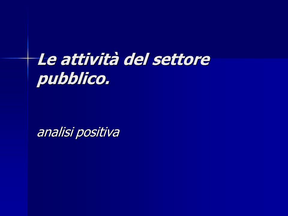Le attività del settore pubblico. analisi positiva