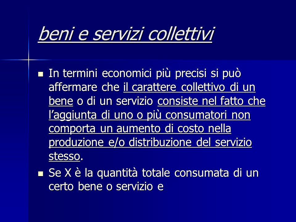 beni e servizi collettivi In termini economici più precisi si può affermare che il carattere collettivo di un bene o di un servizio consiste nel fatto