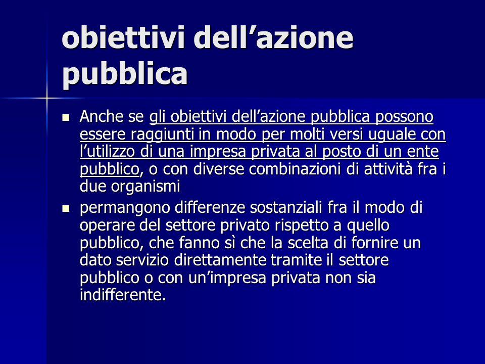 obiettivi dellazione pubblica Anche se gli obiettivi dellazione pubblica possono essere raggiunti in modo per molti versi uguale con lutilizzo di una