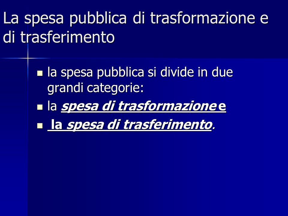 La spesa pubblica di trasformazione e di trasferimento la spesa pubblica si divide in due grandi categorie: la spesa pubblica si divide in due grandi categorie: la spesa di trasformazione e la spesa di trasformazione e la spesa di trasferimento.