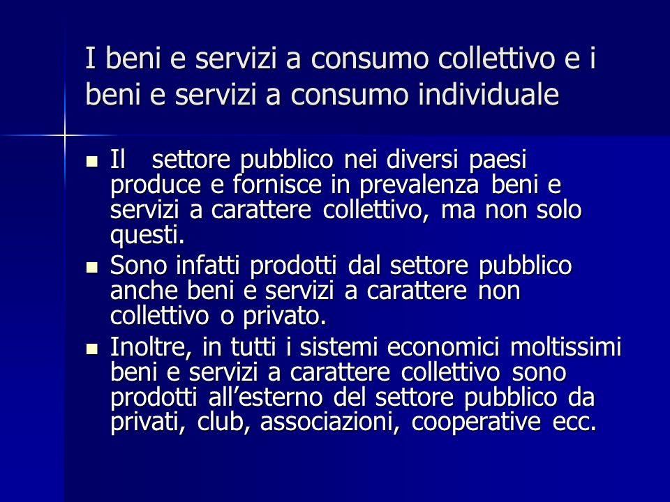 I beni e servizi a consumo collettivo e i beni e servizi a consumo individuale Ilsettore pubblico nei diversi paesi produce e fornisce in prevalenza beni e servizi a carattere collettivo, ma non solo questi.